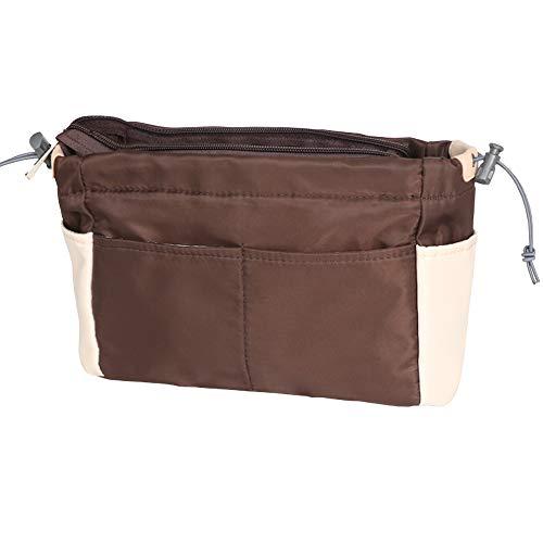 SHINGONE Nylon Handtaschen Organizer Mit Reißverschluss, Damen Taschenorganizer Reise Kosmetik Tasche, Tote Organizer Bag in Bag für LV - Braun