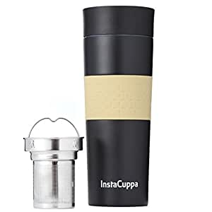 InstaCuppa Vacuum Insulated Coffee, Tea Travel Mug 470 ML, Stainless Steel Infuser Unit, Sipper Lid with Filter, Double Walled Thermos Flask, Silicon Grip