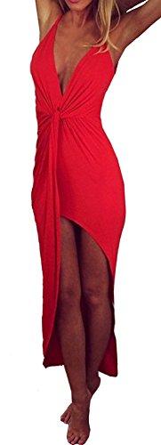 Damen Mode Pakethüften Kleid Reizvolle V-Neck Vokuhila Kleider Ärmelloses Pullikleid Rückenfrei Tunikakleid Einfarbig Ballkleid Asymmetrisch Festkleid Sommerkleider Rot
