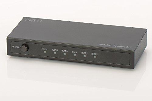 DIGITUS DS-47304, 4-Port HDMI Splitter, 1x4 - Ultra HD, 4K, 30Hz - HDCP 1.3 - 3D Video Format - Schwarz 1.3 Video Splitter