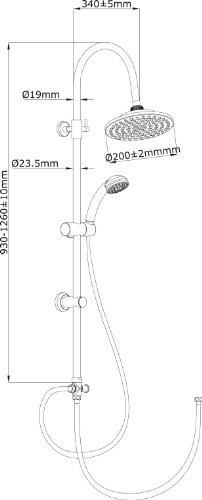 AquaSu – Wellness Duscharmatur Marma, Duschgarnitur mit Handbrause und Kopfbrause, Chrom - 3
