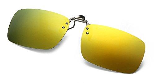 Hykis polarisierten Sonnenbrillen Clip Objektive Flip Up On-Brille f¨¹r Driving Night Vision f¨¹r M?nner Frauen Myopic Wearer Sonnenbrille Lichtgl?ser [Gold]
