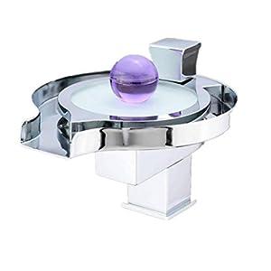 LIULAOHAN Mezclador de Lavabo de Cascada de Disco Creativo, Grifo de Lavabo con Cambio de LED Grifo de baño frío y…