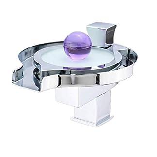 LIULAOHAN Mezclador de Lavabo de Cascada de Disco Creativo, Grifo de Lavabo con Cambio de LED Grifo de baño frío y Caliente for baño Artesanías únicas