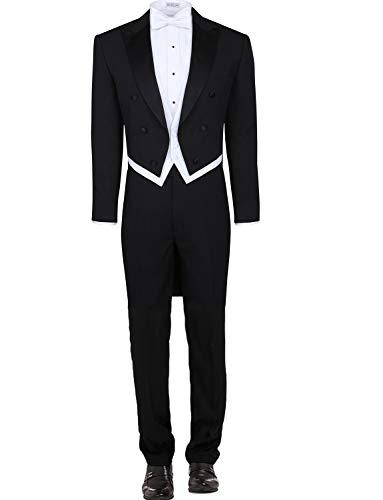 Formale Tuxedo Jacket (YYI Herren 3 Stück schwarz Tuxedo Tails Frack Weste & Formale Hosen)