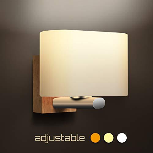 Applique Murale Bois, Awebb Interieur Lampe LED pour chambre/enfant / salle de bain/Escalier / Couloir E27(appliques Blanc chaud)