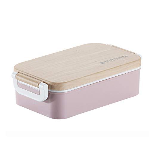 yylikehome Japanische Lunchbox Holz Gefühl Salat Bento Box Tragbare Mikrowelle Lebensmittelbehälter Für Schulbüro Camping Rosa