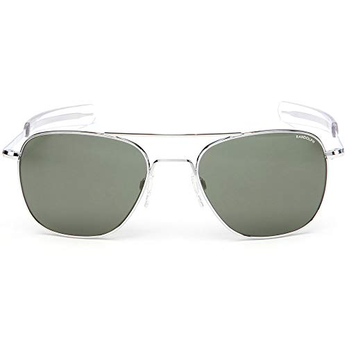 a47d0d2bf6c Randolph Engineering Square Pilot Sunglasses in Bright Chrome AGX Green  AF076 55 AGX Green Silver