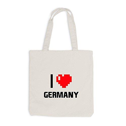 Reisen I Herz Love Jutebeutel Pixel Beige Germany Deutschland Heart XxgqHI