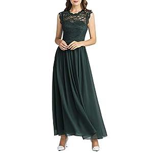 MuaDress 6056 Damen Retro Floral Lace Brautjungfernkleider Rüschen Hochzeit Maxi Kleid Dunkelnrün XXL