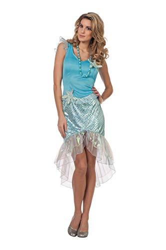 Kostüm Sirene Nixe - Meerjungfrau Kostüm Damen Kleid Hell-Blau Nixe Sirene Unterwasser Fantasy Märchen Karneval Fasching Hochwertige Verkleidung Fastnacht Größe 34 Hellblau