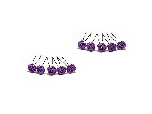 10 épingles à cheveux ornées de roses - accessoire pour coiffure avec du volume/de mariée - Épingle à cheveux noire - violet