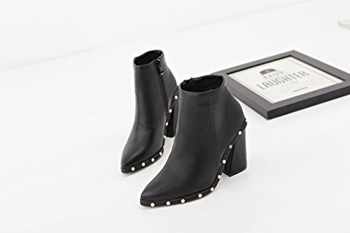 LvYuan-mxx Damen Stiefel / Herbst Winter / Spitz Zehenniet / Martin Stiefel / Komfort Casual / Office & Karriere Kleid / High Heels 37-BLACK
