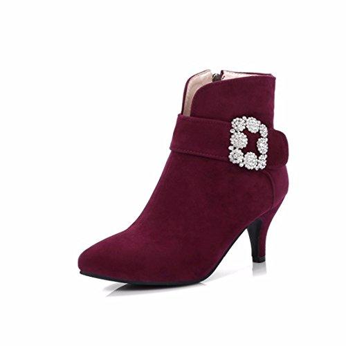 Herbst und Winter Damen kurze Stiefel mode Brille mit spitzen Seite reißverschluss High Heels, Claret, 35