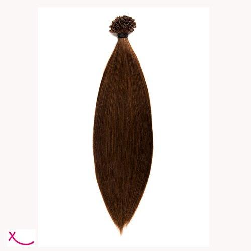 Extiff - Extension cheveux naturel keratine - 20 extensions de 25 cm - 26 couleurs (4 - Chocolat)