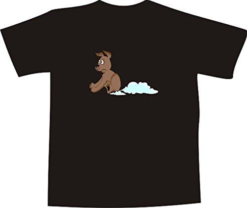 T-Shirt E704 Schönes T-Shirt mit farbigem Brustaufdruck - Logo / Grafik - Comic Design - lustiger Hund bremst mit dem Hintern Weiß