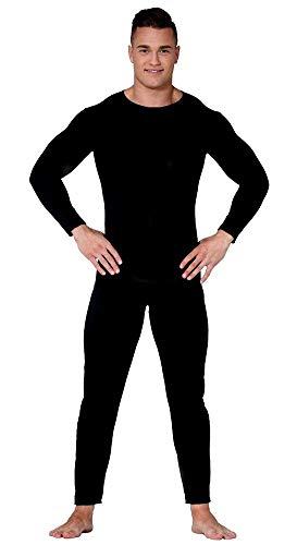 shoperama Herren Basic Langarm Bodysuit Gr. M/L Kostüm-Zubehör JAG Jumpsuit Overall Karneval Fasching Anzug, Farbe:Schwarz