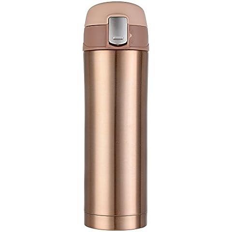 Kooyi taza viaje acero inoxidable 450 ml, Termo de viaje BPA-free, 100% a prueba de fugas (Champagne de