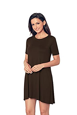 EasyMy New Womens Plain Short Sleeve Stretch A Line Skater Flared Swing Dress Top