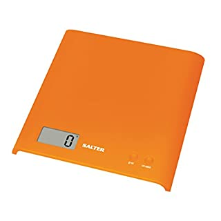 Salter Arc Digital Kitchen Scales – Electronic Food Weighing, Slim Design Cooking Scale Appliance for Home, LCD Display, Add & Weigh, Compact Storage, Easy to Clean, 15 Year Guarantee - Orange