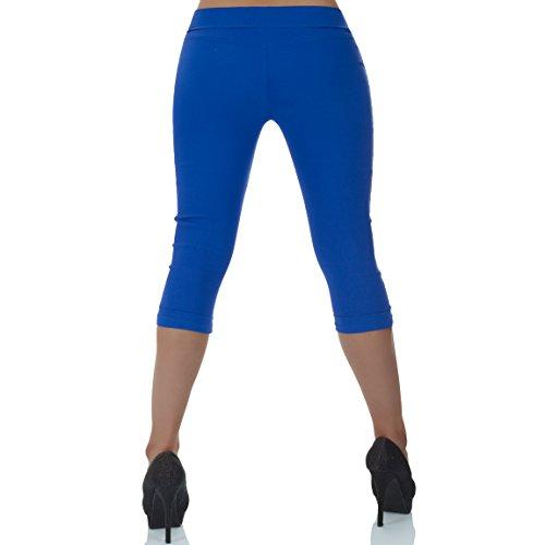 malucas Damen Capri Hose Hüfthose 3/4 Knielang Shorts Kurze Sommerhose Bermuda Stretch Blau