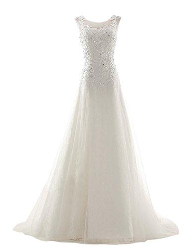 Dresstells, Robe de mariée forme princesse col rond traîne mi-longue organza avec emperler motifs appliqués dentelle Blanc