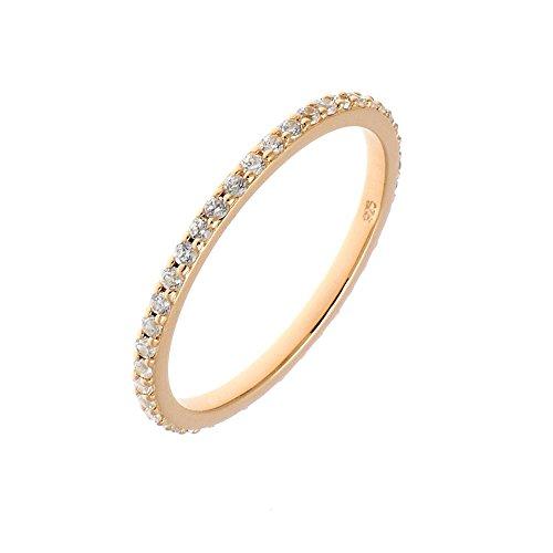 Leaf Ring Memory mit Zirkonia Sterling Silber, Rosevergoldet, Size: 50(15.5) - 60(19.1)