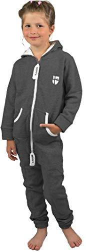 Gennadi Hoppe Kinder Jumpsuit Overall Jogger Trainingsanzug Mädchen Anzug Jungen Onesie,dunkel grau,12-13 Jahre