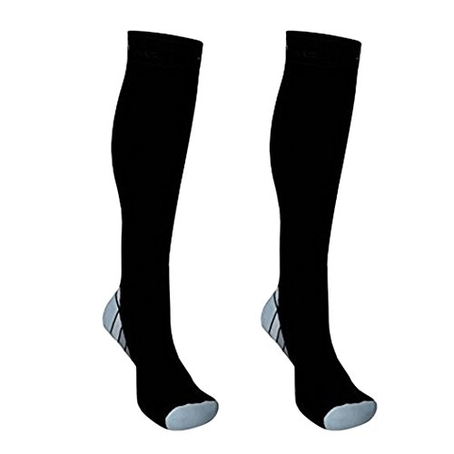 Suberde Unisex Sports Running Fußball Kompression Socken Langlebig Weihnachtsstrumpf Long Tights atmungsaktiv, grau, L/XL
