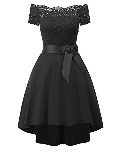 Bright deer vestiti donna eleganti vita tie high low scollo a barchetta pizzo abiti da cerimonia sera swing abito cocktail (large, nero)