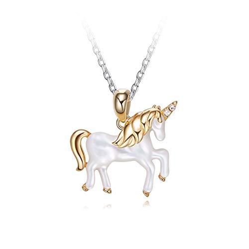 YANGLAN Einhorn Anhänger Halskette, 925 Sterling Silber
