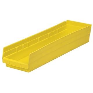 Akro-Mils 30164 24-Inch by 6-Inch by 4-Inch Plastic Nesting Shelf Bin Box, Yellow, Case of 6