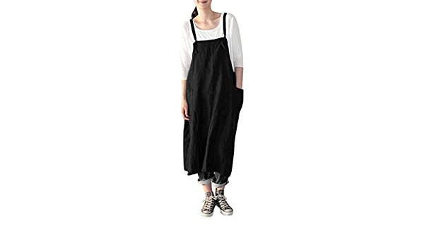 HARRYSTORE Womens Pinafore Dresses Cotton Linen Pinafore Square Cross Apron Garden Work Pinafore Dress Cord Dungaree Skirt