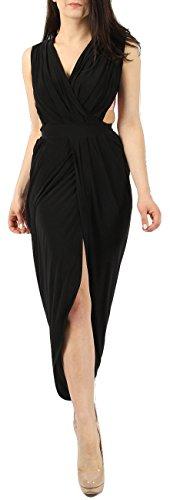 Damen ärmellose Göttin Slinky Maxi Kleid EUR Größe 36-42 Schwarz