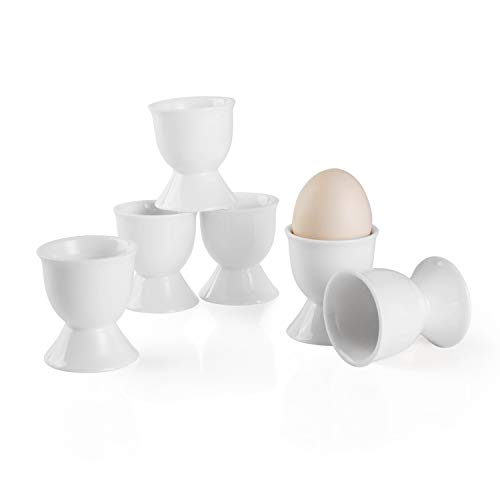 Sweese 805.001 6er Eierbecher Set aus Porzellan, Eierstnder für Jeden Frühstückstisch, 5 x 5 x 4 cm, Weiß