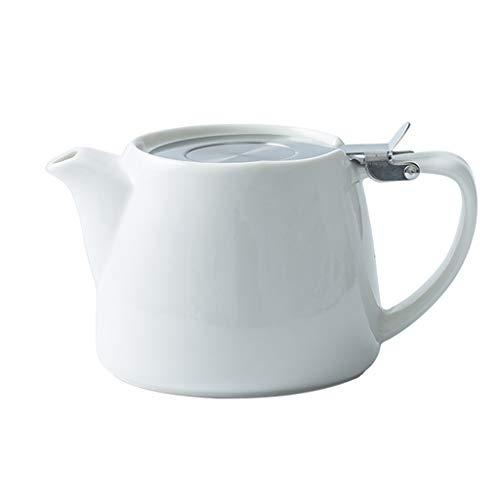 ZHAO ZHANQIANG Rote Keramik, Kaffeekanne zu Hause, kreative Einfachheit, rote Teekanne am Nachmittagstee, mit Sieb (Farbe : Weiß)