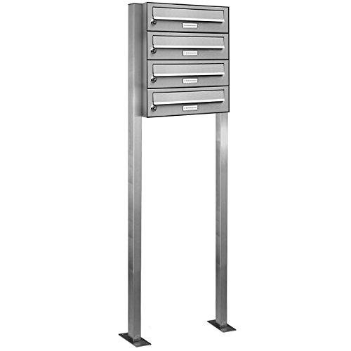 AL Briefkastensysteme 4er Briefkasten als Standbriefkasten, 4 Fach Briefkastenanlage in Edelstahl rostfrei Postkasten modern