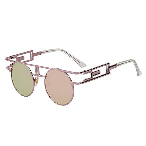 Zbertx Steampunk Runde Sonnenbrille Damen Herren Beschichtung Sonnenbrille Unique Glasses Female Girls,H9
