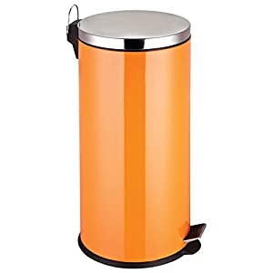 Premier Housewares Stainless Steel Pedal Bin, 30 L - Orange