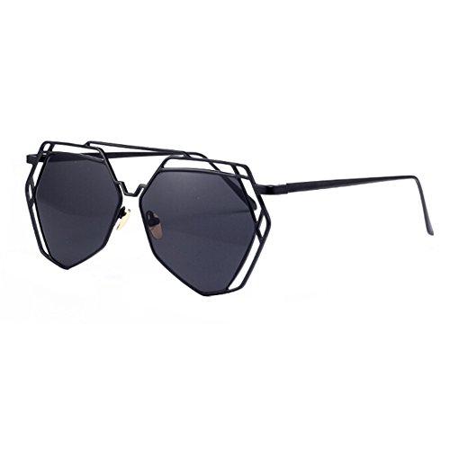 Mode-Flash-Spiegel-Objektiv Metall Frauen Full Frame Sonnenbrille, Schwarz
