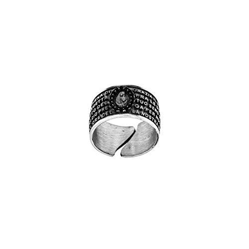 Ring Mann Frau Gebet Ave Maria in italienischem Silber 925 Ring Rosenkranz mit Zirkon Band verstellbares Gebet (Silber 925 brüniert - Schwarze Zirkone, verstellbar 58)