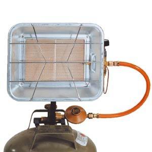 Gas-tec 31002 Infrarot Gasstrahler 4,2 kW mit Regler und Schlauch, Piezzozündung