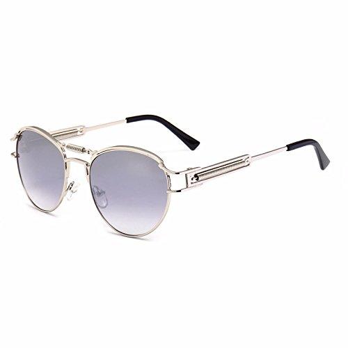 Sonnenbrillen Mode Herren Sonnenbrillen Oval Spring Sonnenbrillen für Männer Polarisierte Sport Sonnenbrillen Metallrahmen UV-Schutz umrandeten Sonnenbrillen für Unisex Punk Style ( Farbe : Silber )