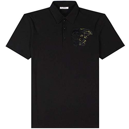 Versace Kollektion halb Medusa Poloshirt schwarz Meduim Black
