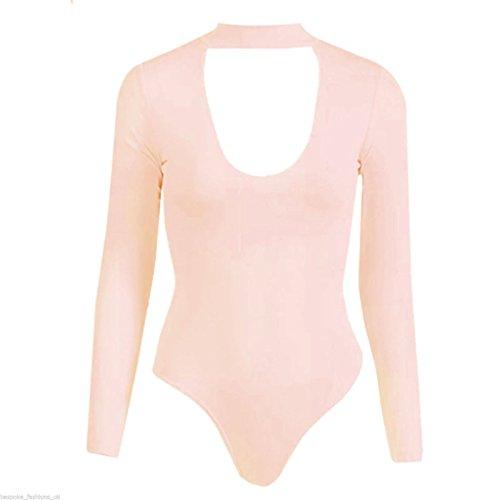 Janisramone Damen Body / Einteiler Formender Body, Einfarbig * Einheitsgröße Nude