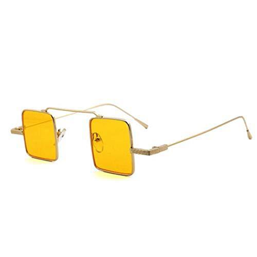YUHANGH Vintage Kleine Schmale Sonnenbrille Für Frauen Männer Randlose Rechteck Sonnenbrille Retro Metallrahmen Klare Linse Rote Schattierungen