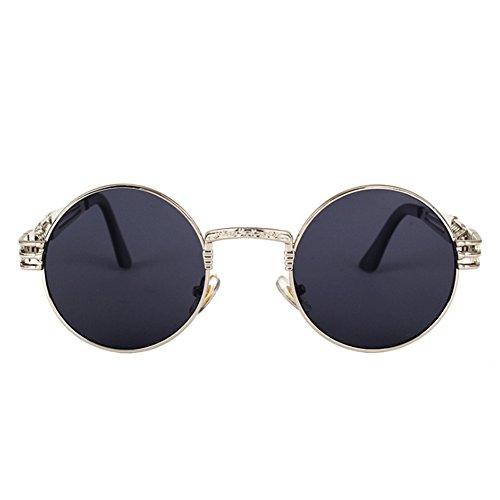 Zantec Sonnenbrille, Gothic Steampunk Männer Frauen Runde Sonnenbrille UV400 Spiegel Objektiv Brillen