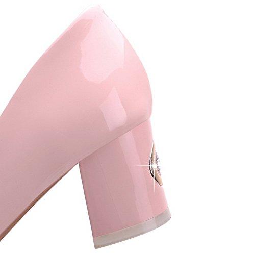 AllhqFashion Femme Verni Tire Rond à Talon Correct Couleur Unie Chaussures Légeres Rose