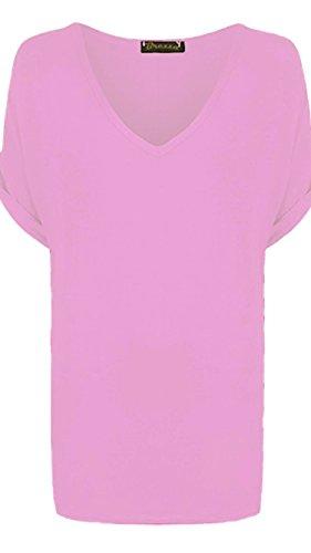 Nuovo da donna tinta unita scollo a V a maniche corte larghi maglietta Plus Size. UK 8–26 Baby Pink