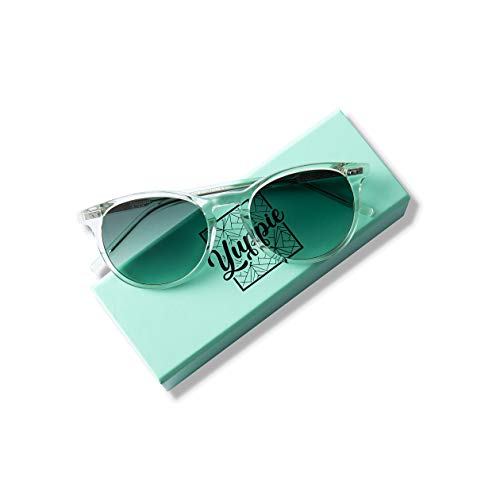 Yuppie Swedish design unisex retro vintage sunglasses with ultra premium handfinished Mazzuschelli acetate. For the young urban professional. (Mint Transparent Deep Jade Lens) - Jade Unisex Sonnenbrille